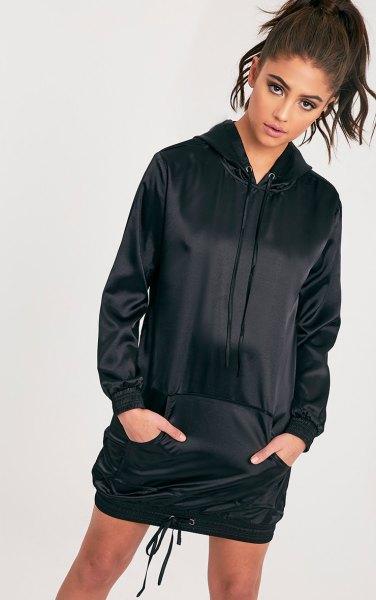 black satin hoodie dress white sneakers