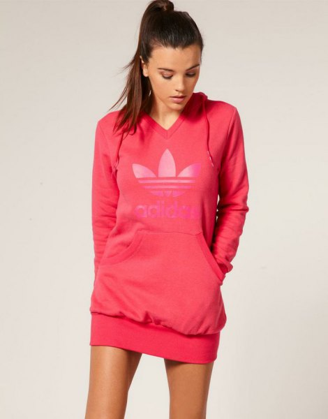 addidas pink sweater with v-neck