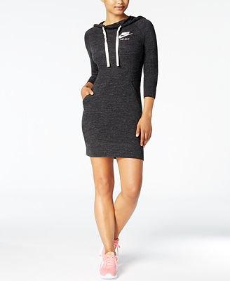 Form fitting dark gray hoodie dress pink sneakers