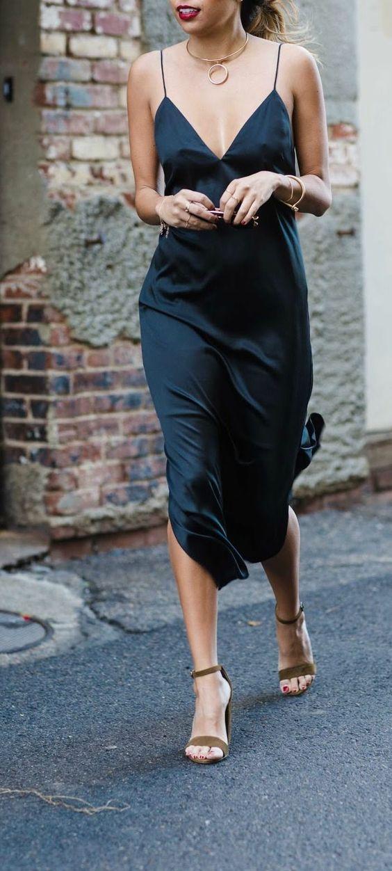 suede heels silk dress