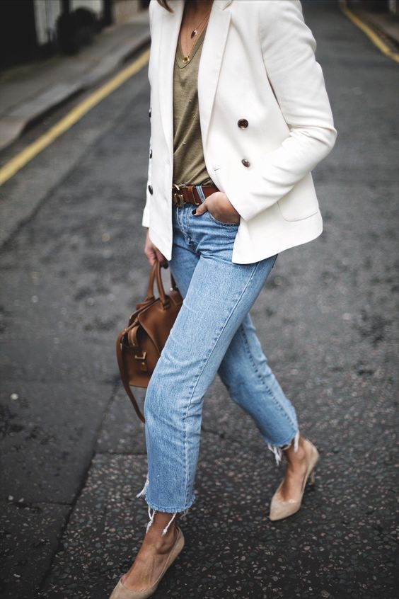 suede heels white blazer