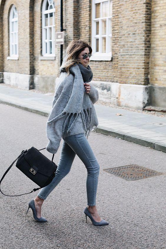 suede heels gray scarf