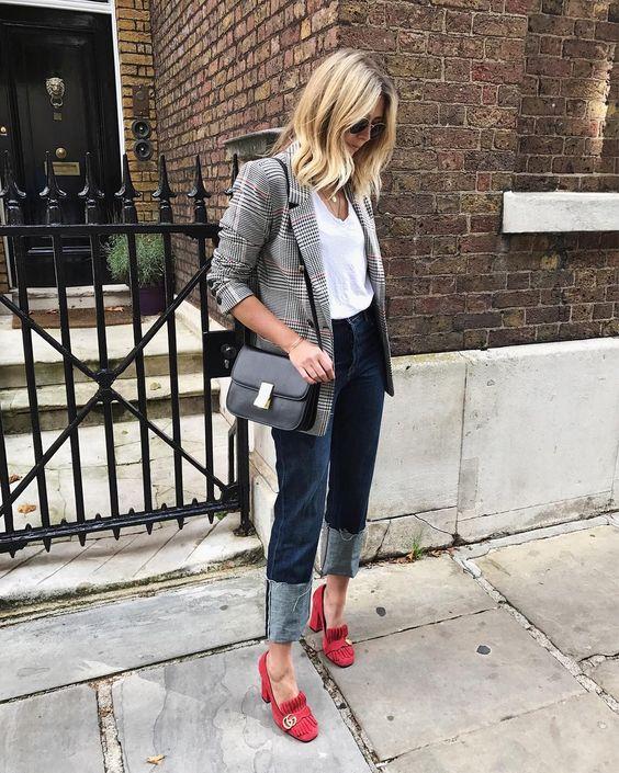 suede heels checkered blazer