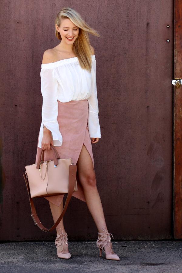 suede heels soft pink skirt