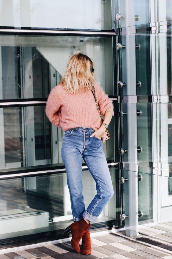 suede heels blush pink sweater