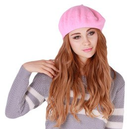 pink painter cap gray white knitted sweater