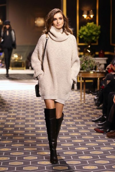 knitted sweater with knee-high in knee-high boots
