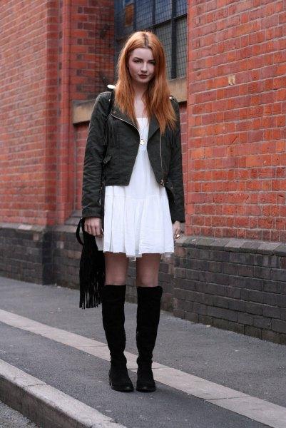 white fresh dress black knee high boots