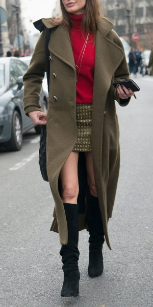 black knee high boots, long green trench coat