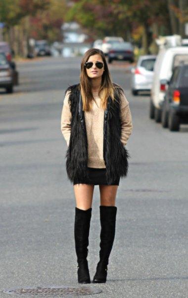 black fur coat knee-high shoes