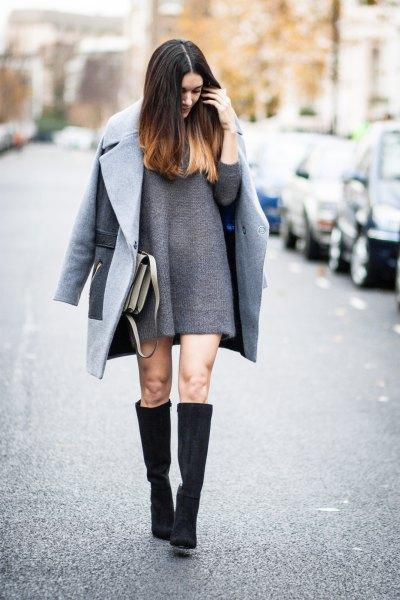 gray wool coat knee high boots