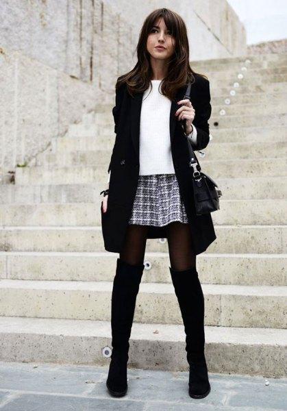 black boots blazer checkered mini skirt