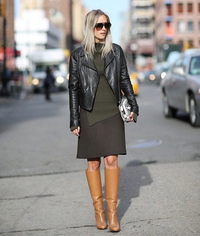 camel knee high boots wool skirt black leather jacket