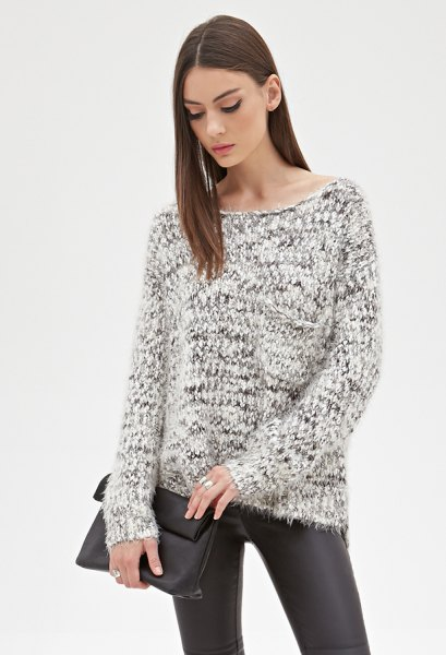 black and white marbled knitted sweaters made of leather