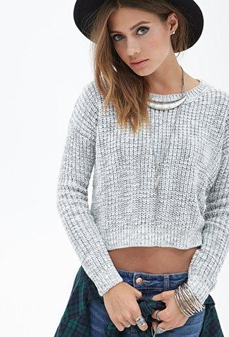 cropped knit sweater boyfriend jeans blanket hat