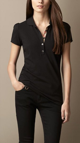 black polo shirt skinny jeans