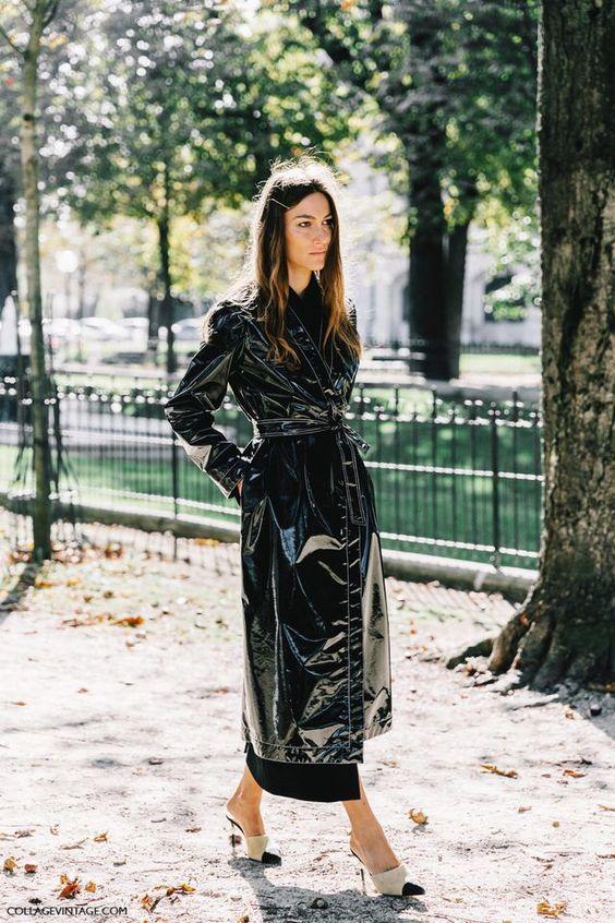 trench coat vinyl black