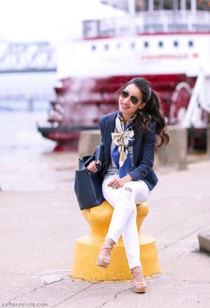 silk scarf navy blue wool blazer white pants