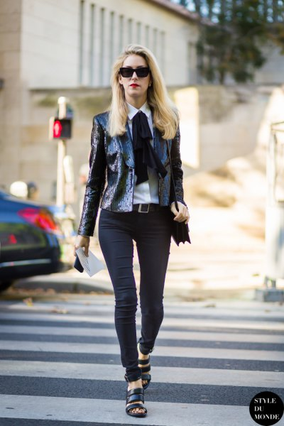 black bow scarf sequin blazer outfit