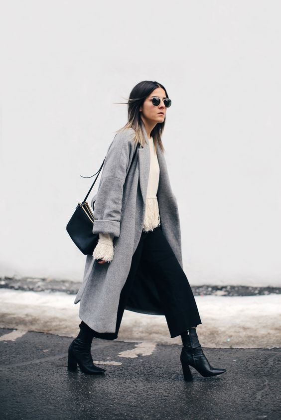black culottes gray coat