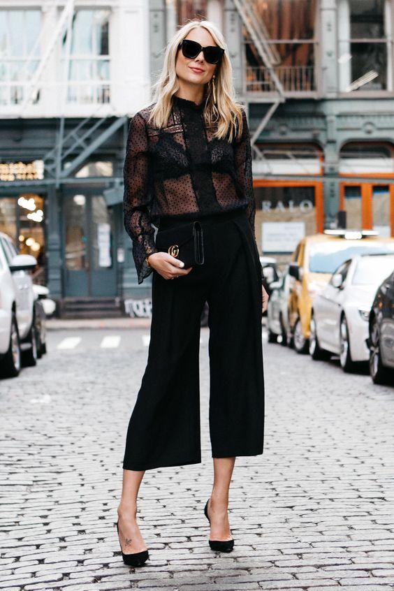 black culottes transparent