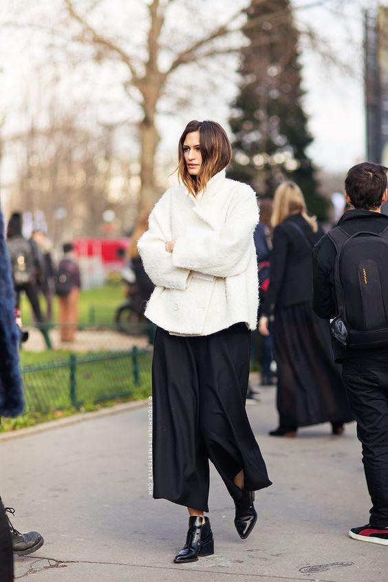 black culottes fluffy coat