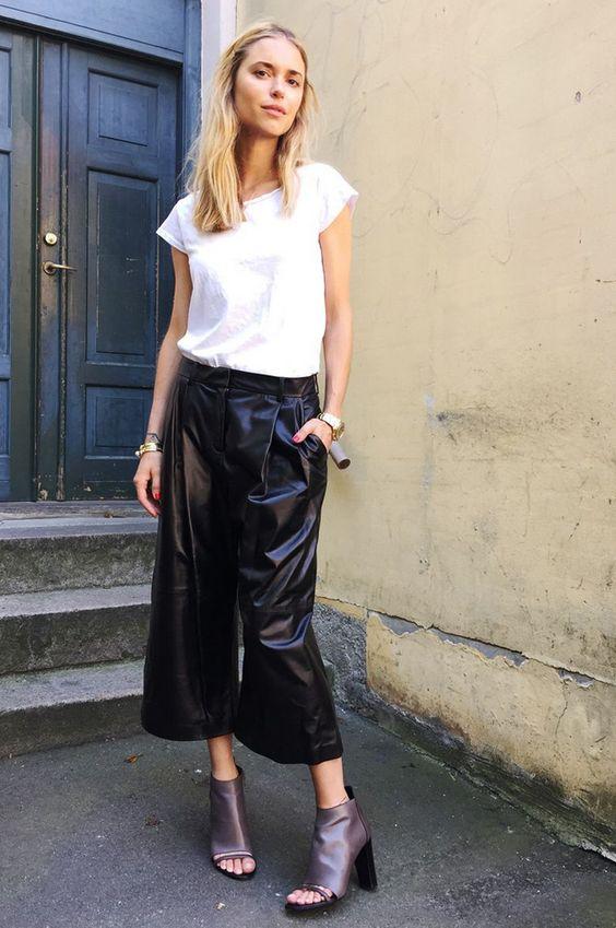 black culotte leather