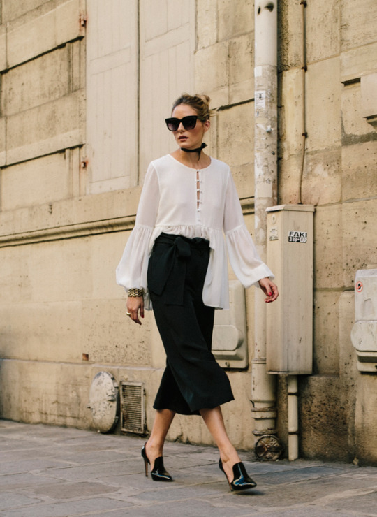 black culottes black white
