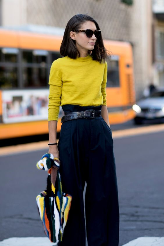 black culottes yellow