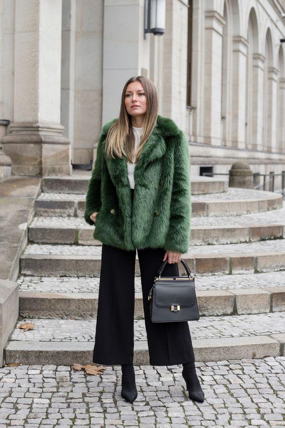 black culottes green faux fur
