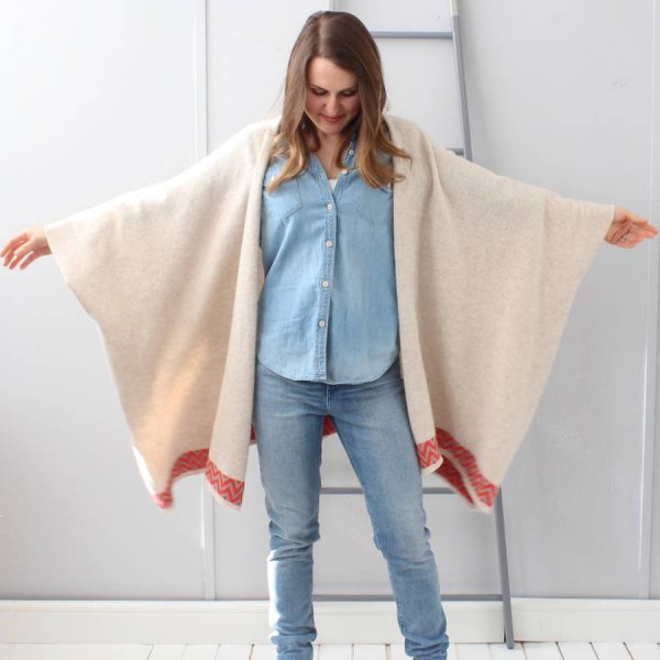 cream felt cardigan denim shirt jeans
