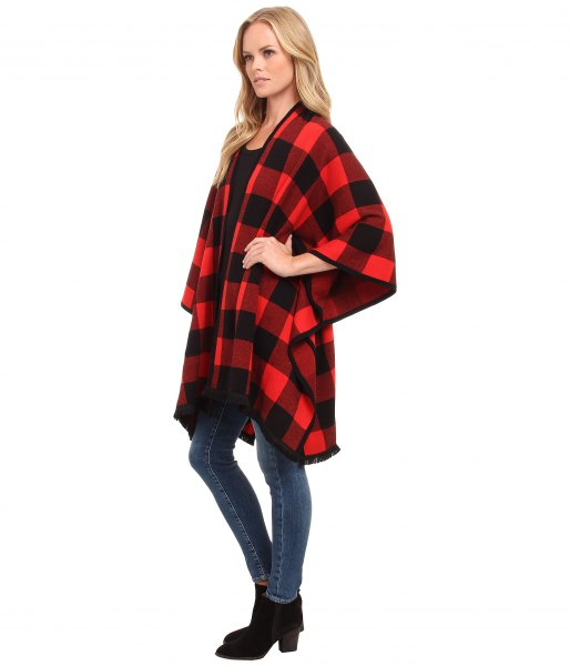 black and red plaid felt cardigan skinny jeans