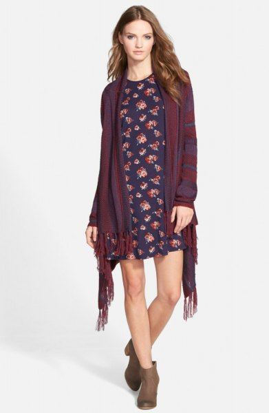 blanket cardigan navy floral shift dress