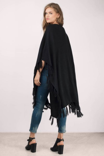black felt cardigan skinny jeans black heels