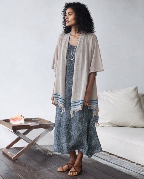 gray blanket cardigan boho style maxi dress