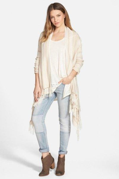 white felt cardigan jeans white tank