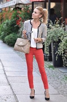 tweed jacket white red jeans