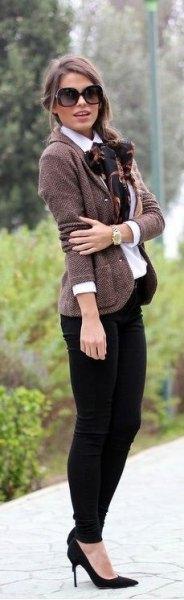 tweed jacket button up shirt silk bow