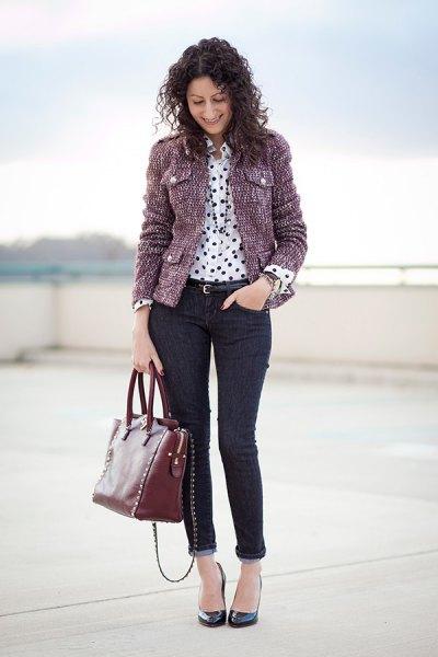 gray tweed jacket polka dot shirt cuff jeans