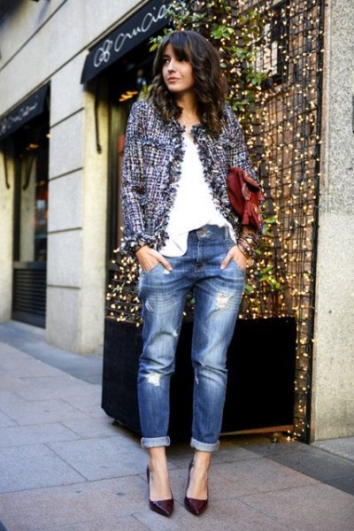 tweed jacket boyfriend jeans outfit