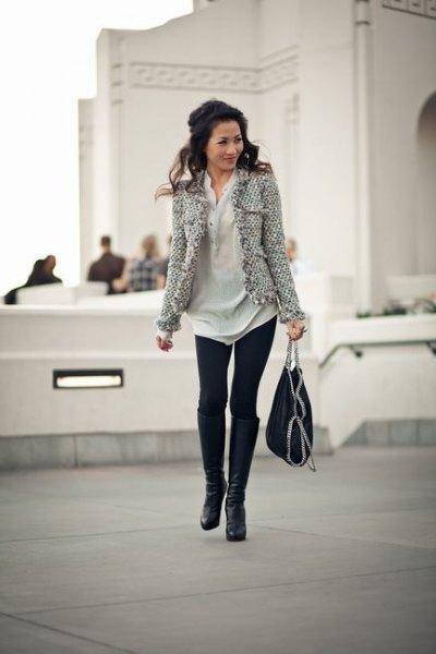 tweed jacket polo shirt dress leggings
