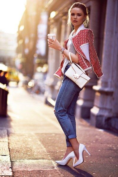 tweed jacket gray sweater white heels