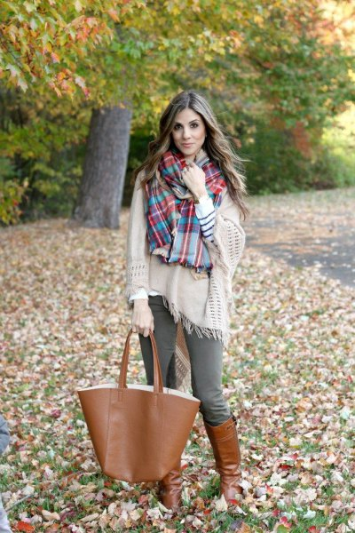 blanket sweater checkered scarf riding pants