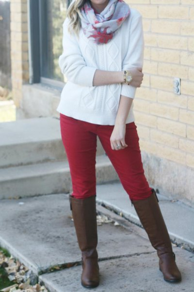 red breeches white cable knit sweater