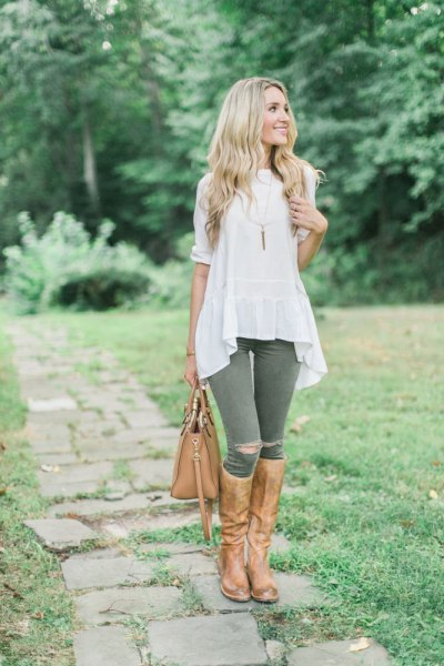 ripped breeches white airy top