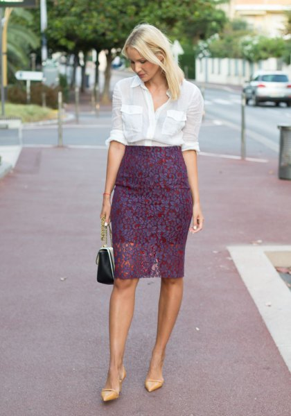 white button up shirt with high waist in lace skirt