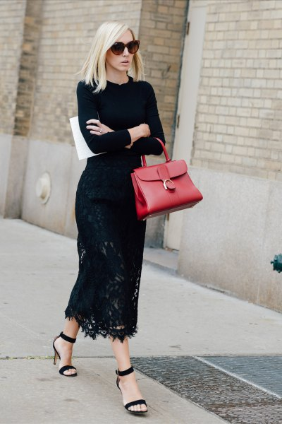 maxi lace dress black sweater with crew neck