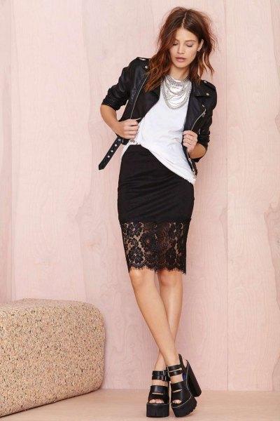 black leather jacket knee length lace skirt