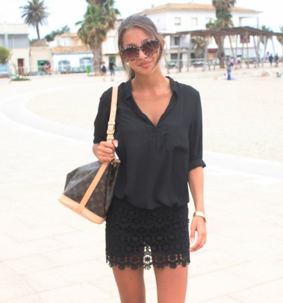black lace skirt with a button