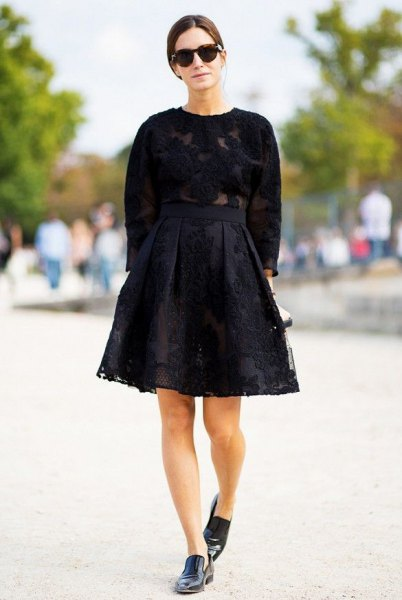 black lace flare skirt knitted sweater